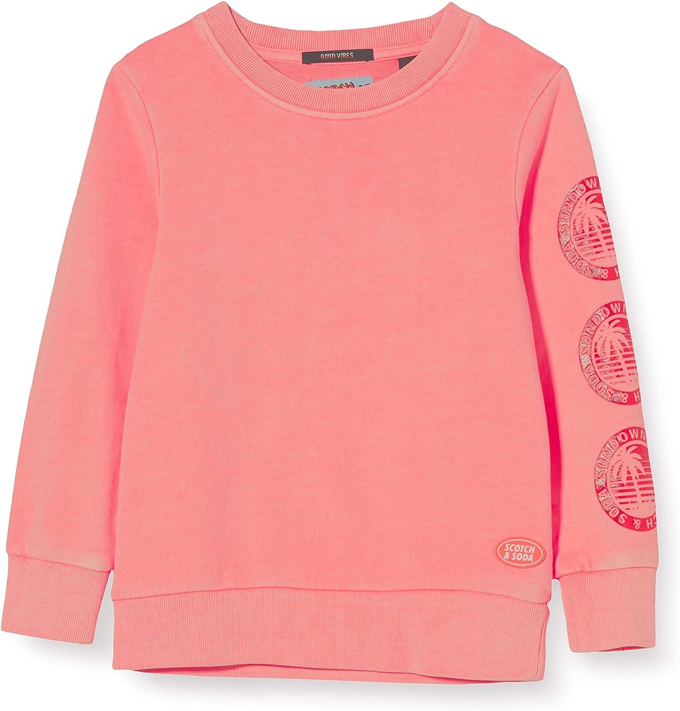 Scotch /& Soda Garment Dyed Crew Neck Sweat with Artworks at Sleeve Shirt Gar/çon