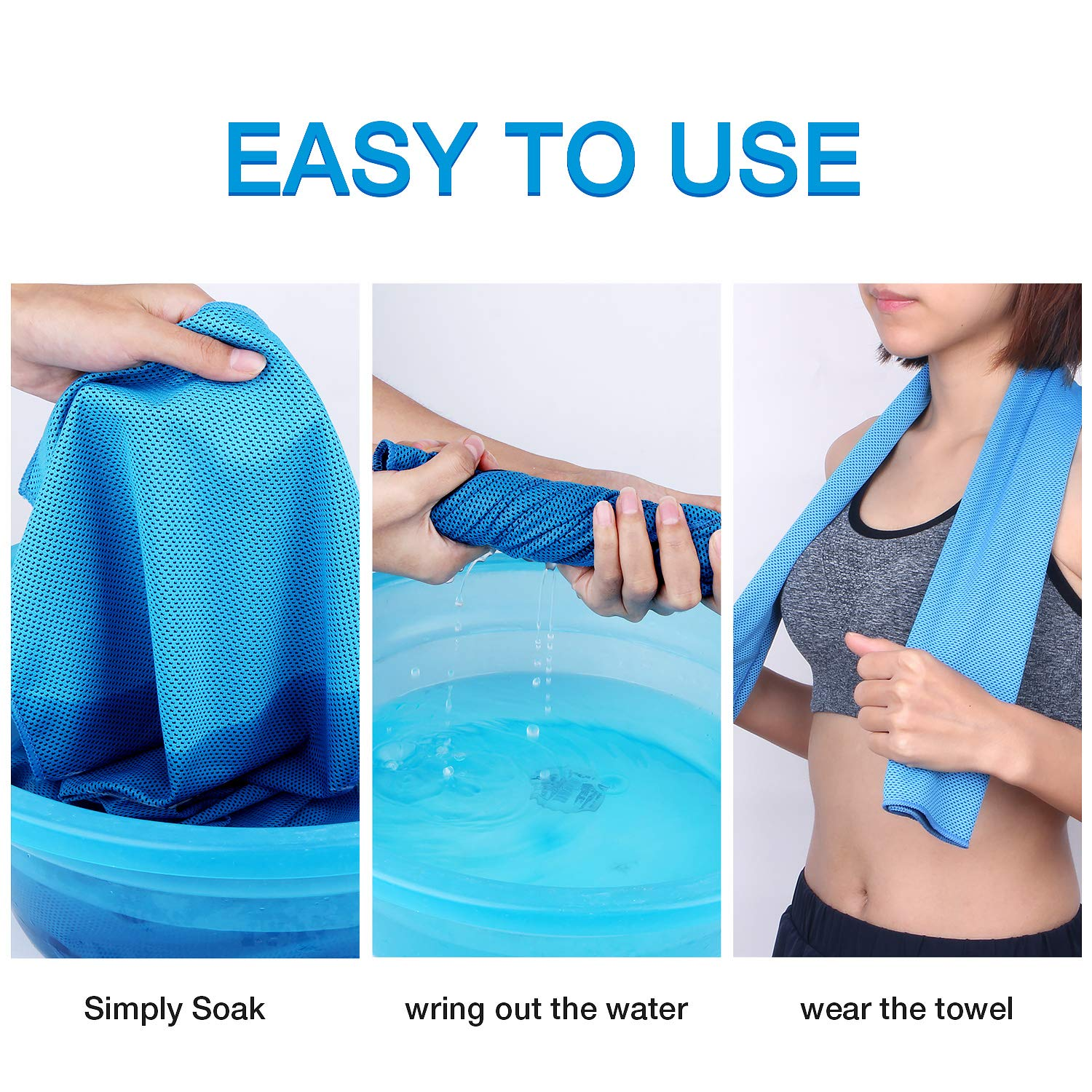 Getron Cooling Towel Chilling Neck Wrap for Indoor and Outdoor SPOR Soft Breathable Mesh Fabric Microfiber Ice Towel with Carrying Pouch Design for Instant Cooling Relief 4 Packs 35.43x 11.81