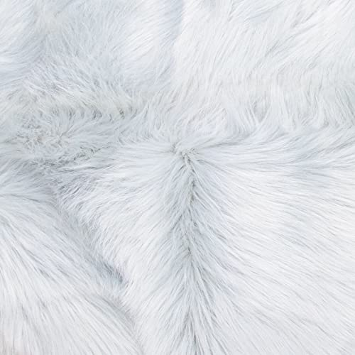 Faux Fur Sheepskin Rug White, Furry Rugs for Vanity Seats Chairs Cover – Plain Shaggy Area Luxury Home Throw Plush Seat Pad, Bedroom, Kids Rooms, Living Room Floor Faux Australian Rugs, 2ft x 3ft