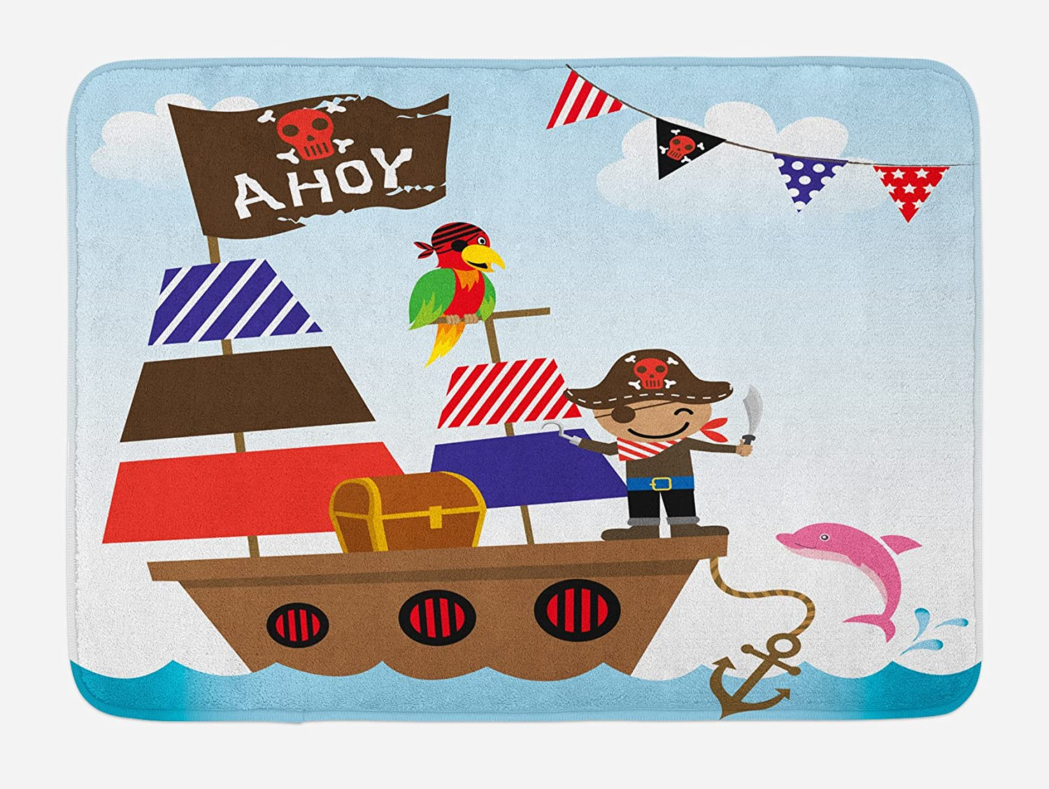 "Ambesonne Ahoy Its a Boy Bath Mat, Pirate Kids Treasure Chest Ship on Ocean Background Illustration, Plush Bathroom Decor Mat with Non Slip Backing, 29.5"" X 17.5"", Blue Brown"