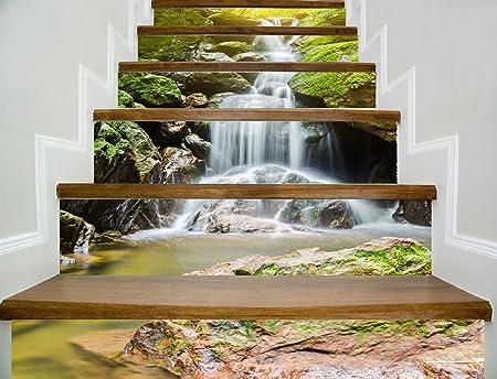 Escaleras de papel tapiz autoadhesivo corriente de montaña agua decoración del hogar 3D desmontable pegatinas de tres dimensiones DIY moderna HD escalera a prueba de agua fondo de pantalla para compra: Amazon.es: