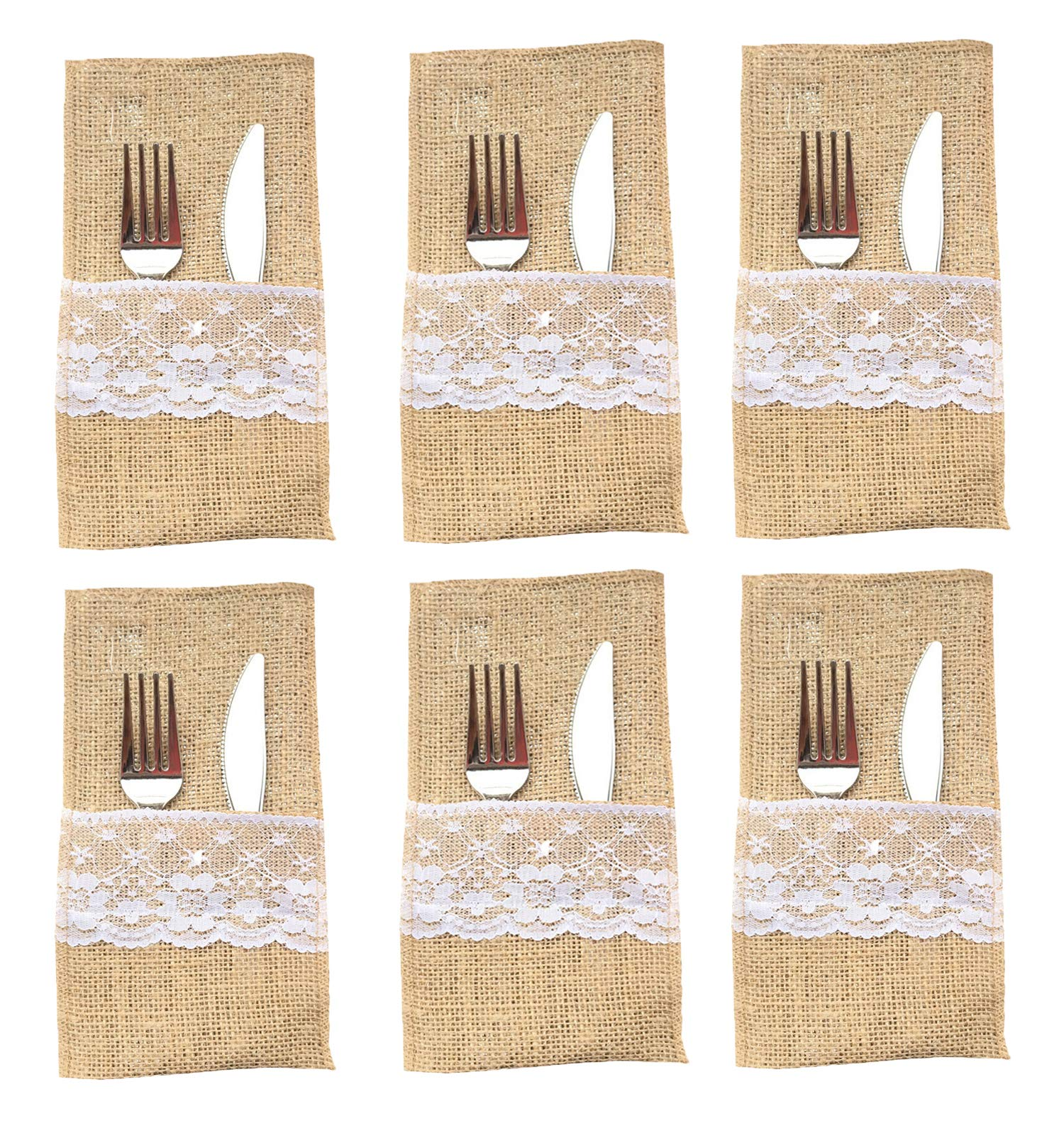 YUMMAYEE Burlap Lace Utensil Holders Silverware Cutlery Pouch Knifes Forks Bag for Rustic Wedding Party Bridal Baby Shower Christmas Favor Decorations Gifts