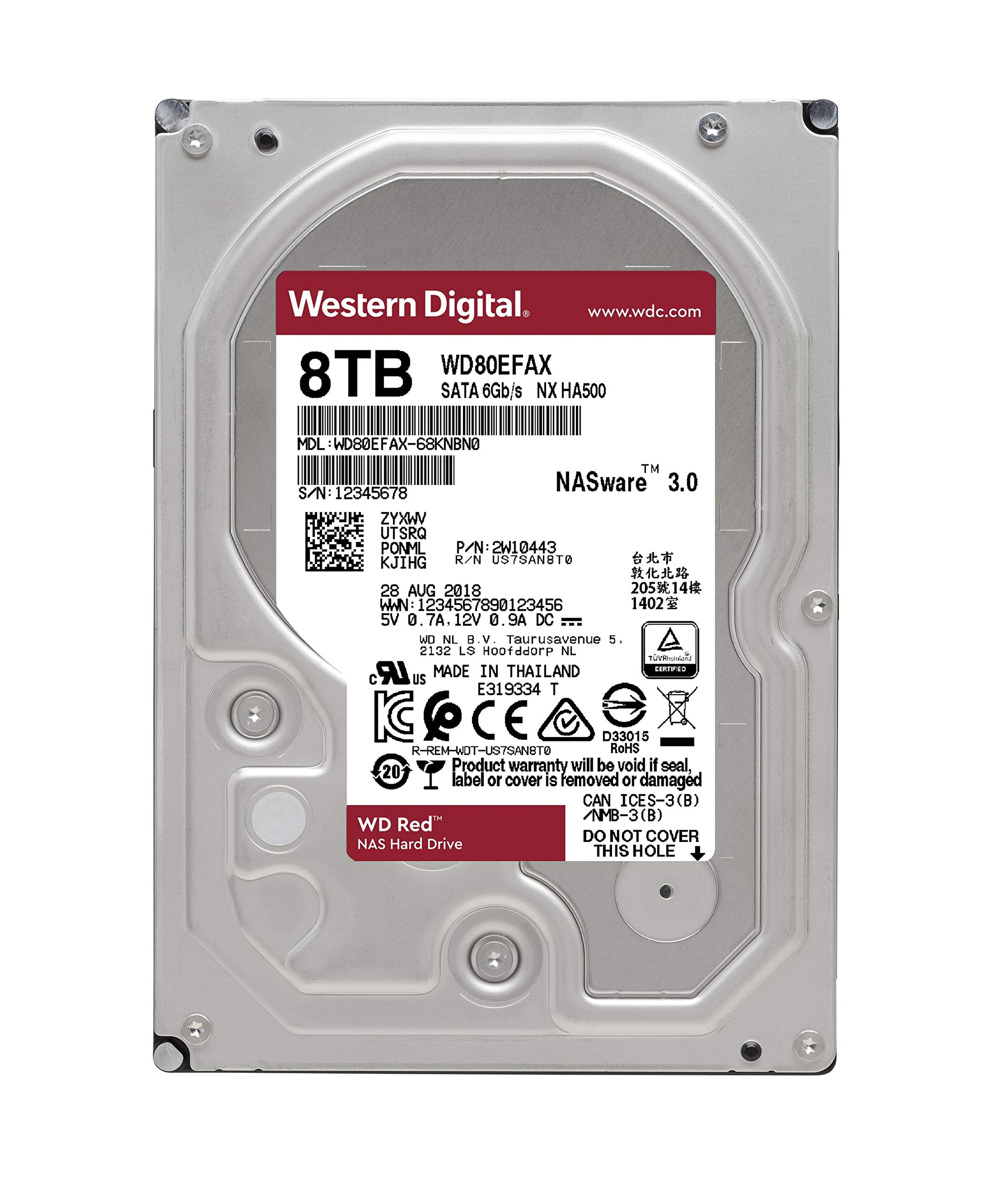 WD Red 8TB NAS Internal Hard Drive - 5400 RPM Class, SATA 6 Gb/s, 256 MB Cache, 3.5'' - WD80EFAX by Western Digital (Image #3)