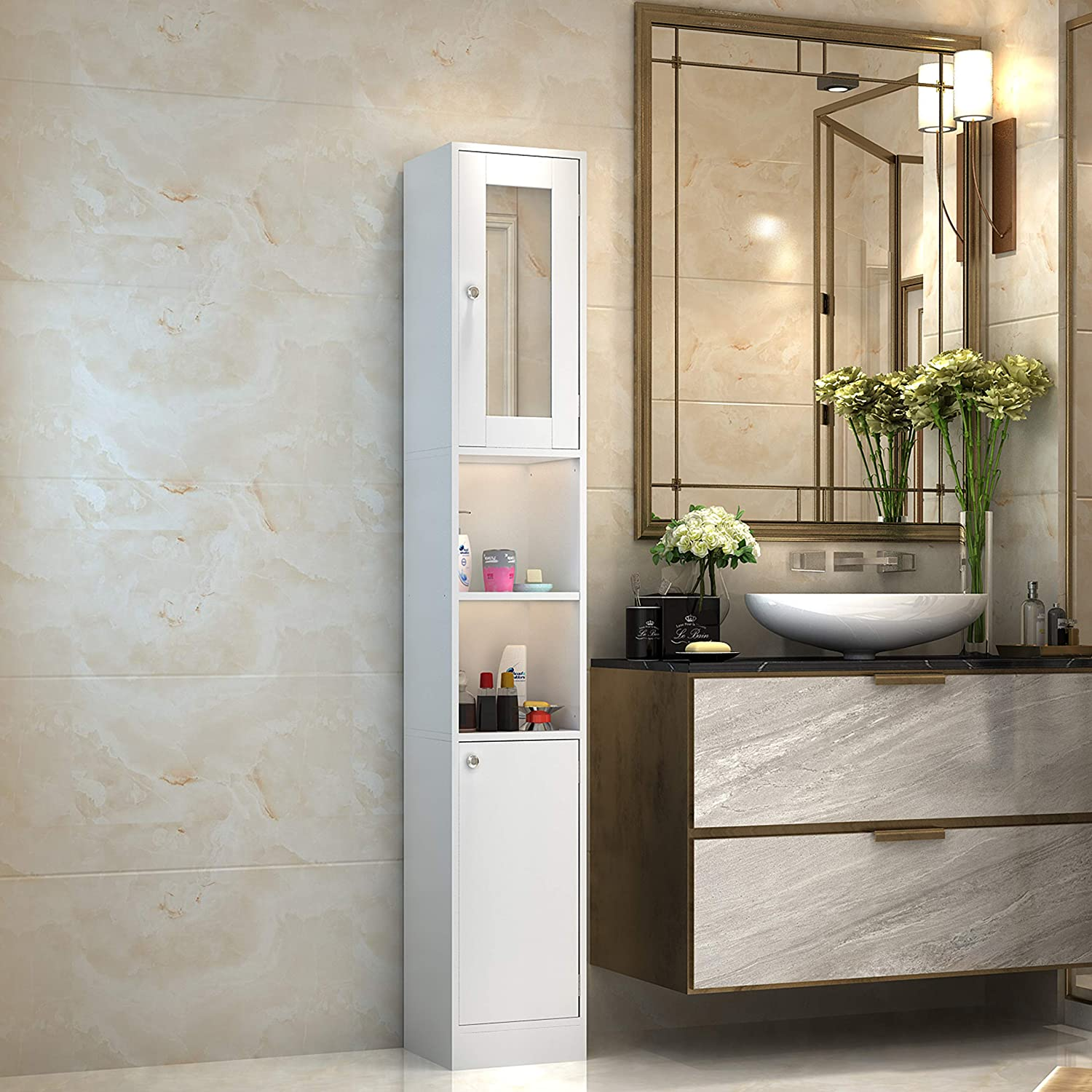 Raintain Bathroom Cabinet, Freestanding Storage Cabinet with 2 Open Shelves and Cupboard, Floor Cabinet for Living Room Kitchen Study Entryway, Ivory White