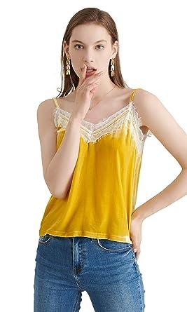 LILYSILK Camisole en Velours Caraco avec Dentelle Fines Bretelles Féminin  Basique Chic XS Or 83f6e39ff6eb