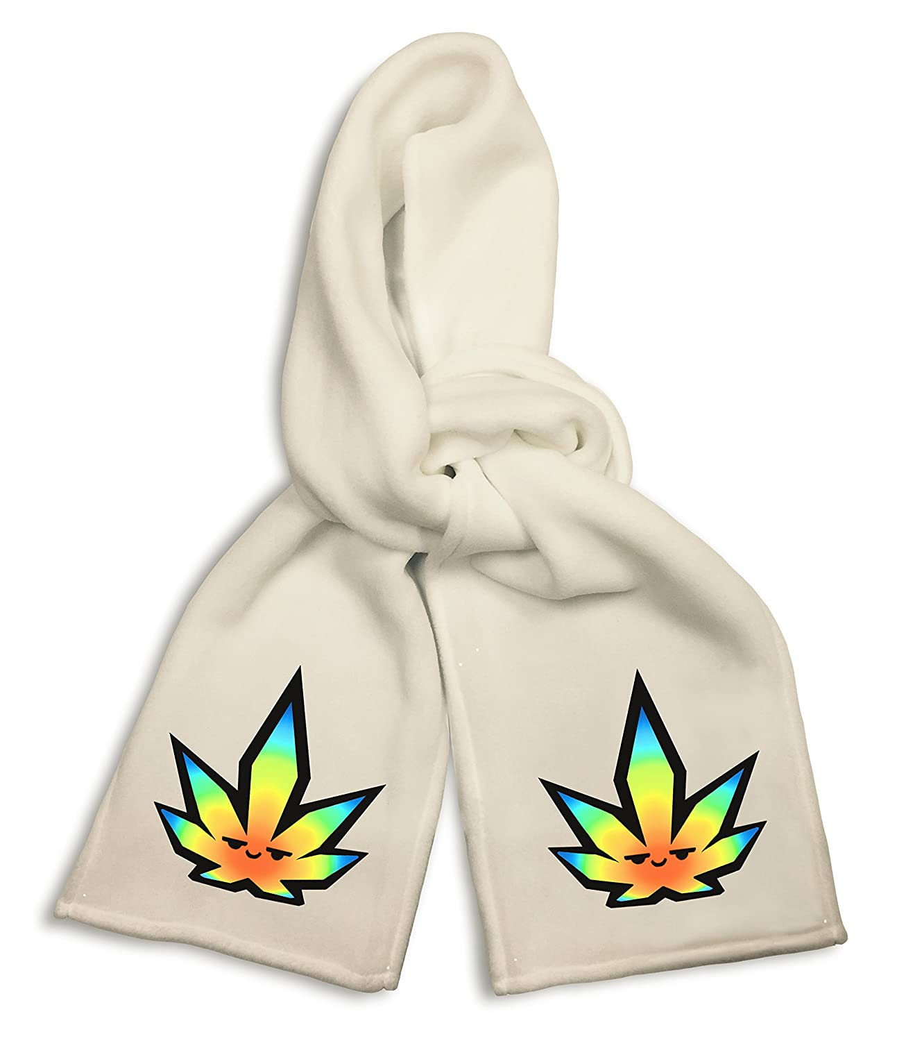 White Winter Scarf Pot Smoking Pals Pot Leaf