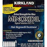 KIRKLAND SIGNATURE Minoxidil 5% Extra Strength Hair Regrowth For Men, 2 Fl Oz, 6 Count