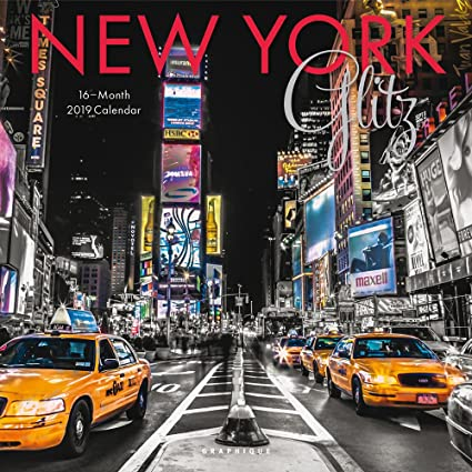 Ny School Calendar 2019-16 Amazon.: Graphique New York Glitz Wall Calendar, 16 Month 2019