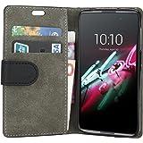 Housse Alcatel Onetouch IDOL 3 (5.5 pouces), EnGive Flip Housse Étui Coque de protection en Luxe cuir pour Alcatel Onetouch IDOL 3 Smartphone 5.5 pouces (noir 2)