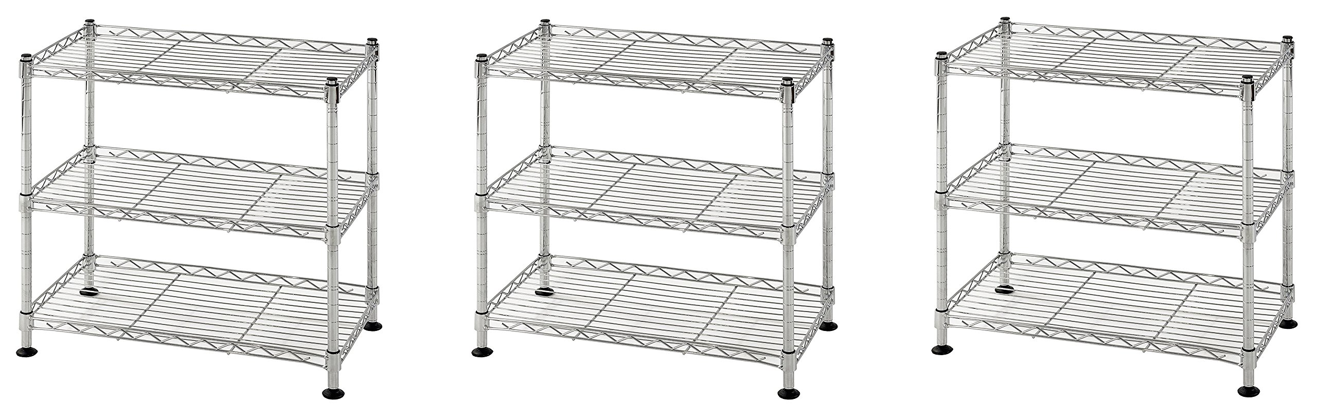Muscle Rack WS181018-C Steel Adjustable Wire Shelving, 3 Shelves, Chrome, 18'' Height, 18'' width, 264 lb. Load Capacity (3 PACK)