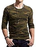XDIAN メンズ 迷彩柄Tシャツ 夏 スポーツ フィットネス タイト半袖 丸首 カモフラージュシャツ自衛隊 ミリタリー