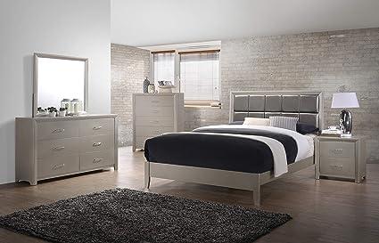 Amazon.com: Master Bedroom Contemporary Silver Finish 4pc Bedroom ...