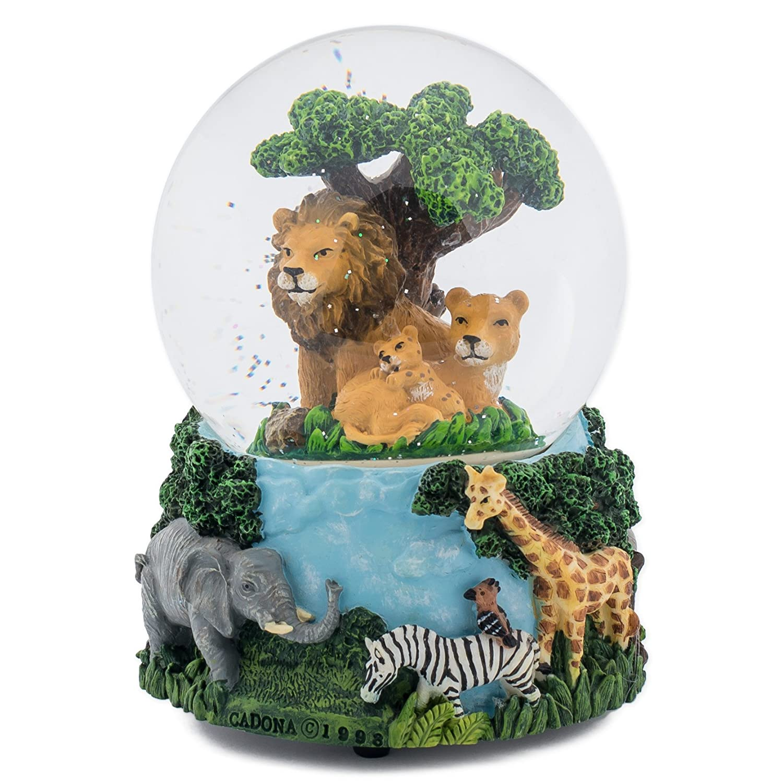 Lions Zebras Elephants and Giraffes Music Water Globe Plays Tune Circle of Life Cadona International 36046A