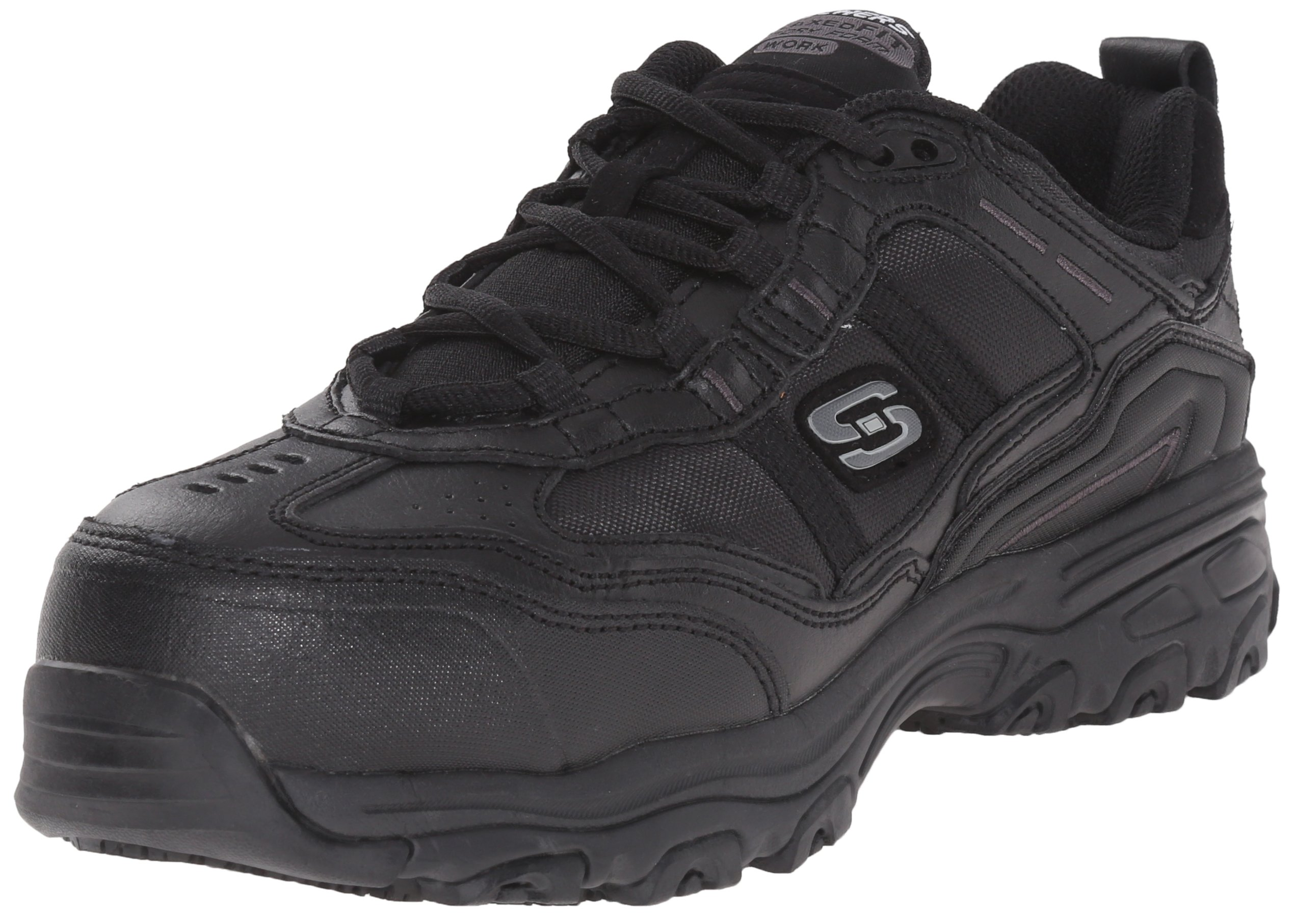 Skechers Work Women's D'Lite Slip Resistant Toliand Work Shoe,Black,7 M US