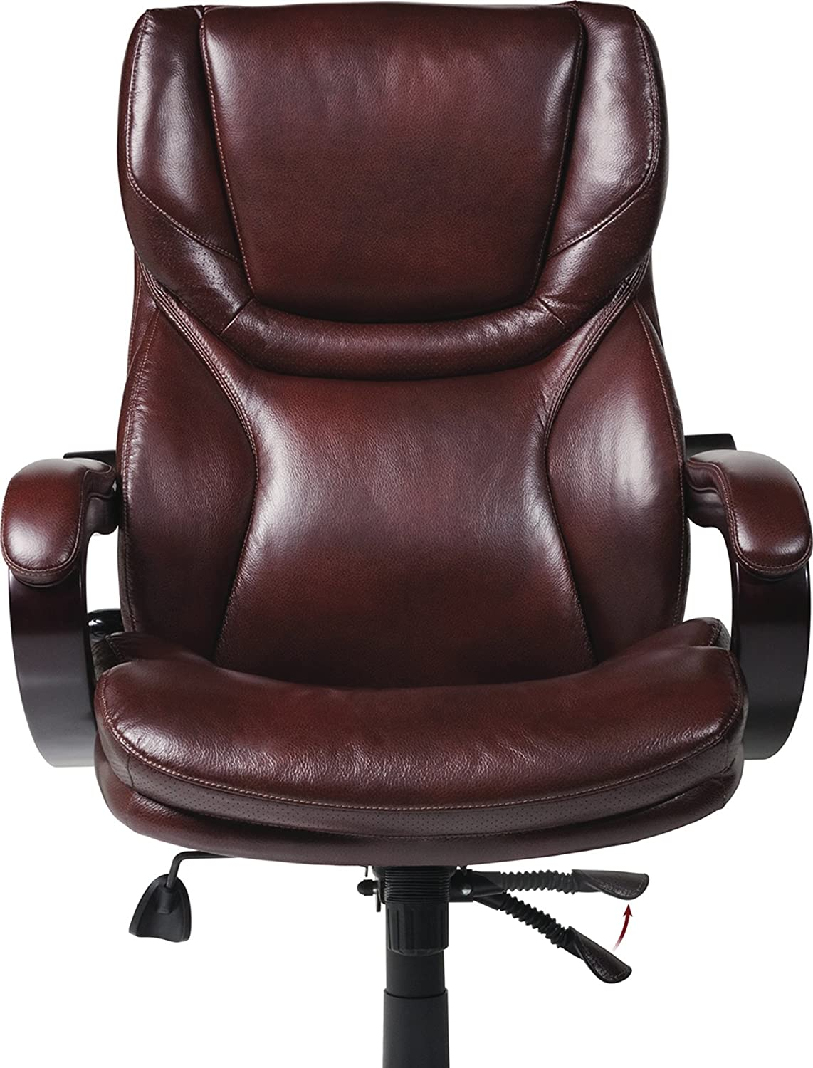 Office Chair Leather Amazoncom Serta Bonded Leather Big Tall Executive Chair Brown