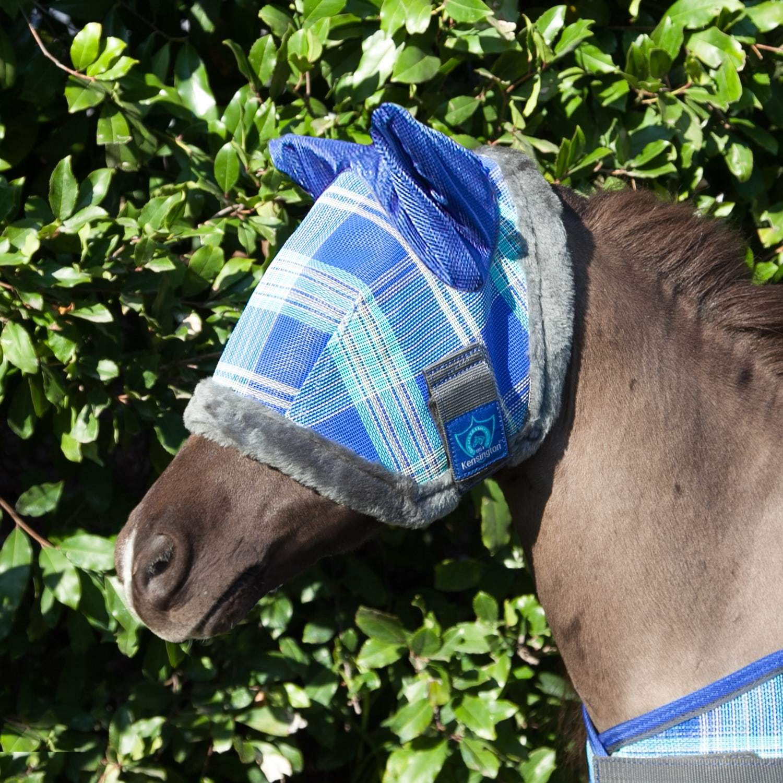 Kensington Mini B - Over Fly Mask with Fleece & Soft Mesh Ears, Blue Ice, 34''