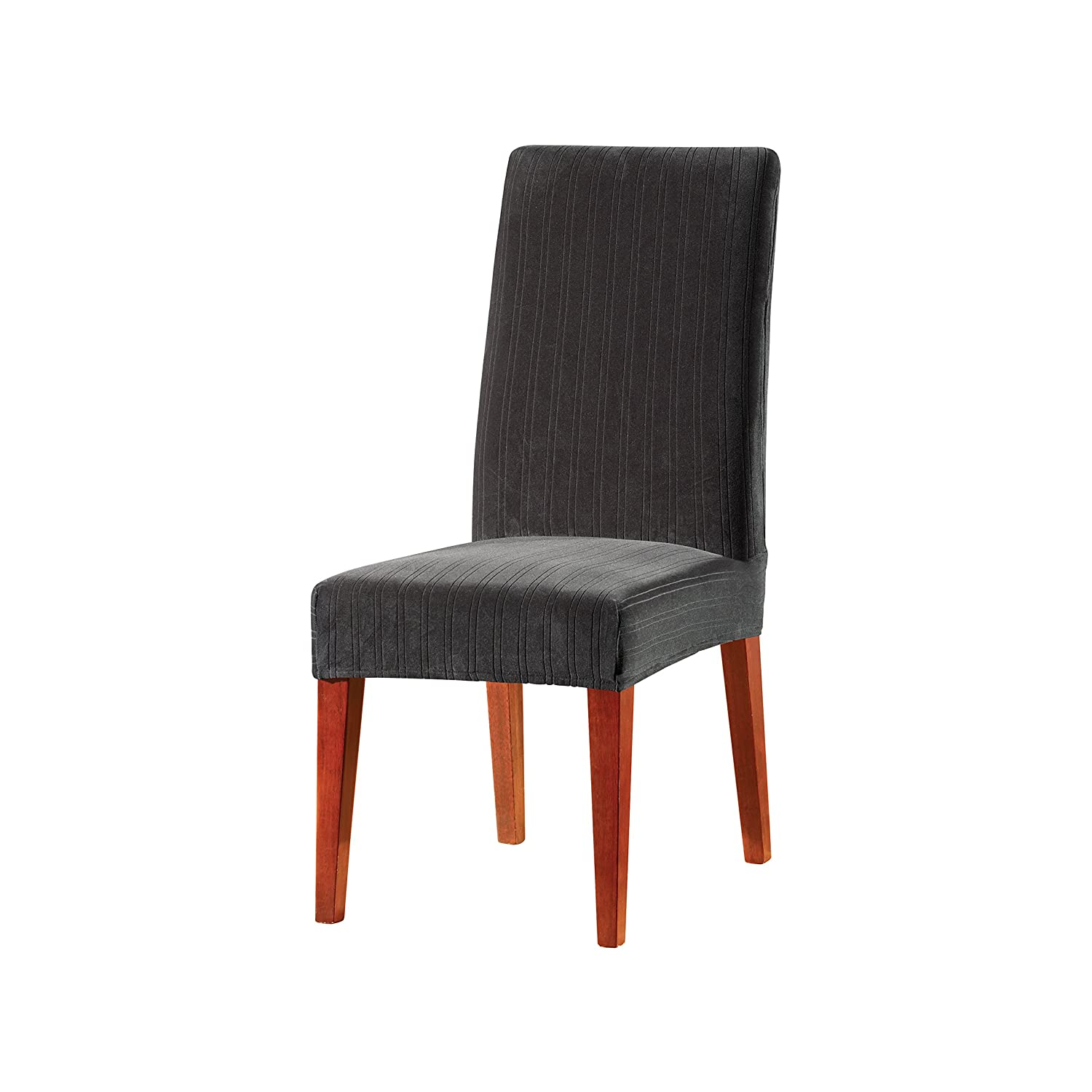 Black Dining Chair SureFit Stretch Pinstripe - Wing Chair Slipcover - Taupe