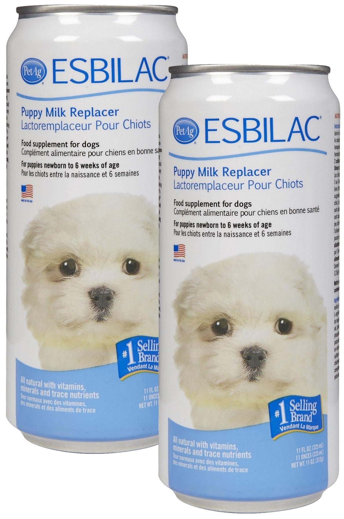 Esbilac Liquid Milk Replacer for Puppies & Dogs, 11oz Can, 2-Pack