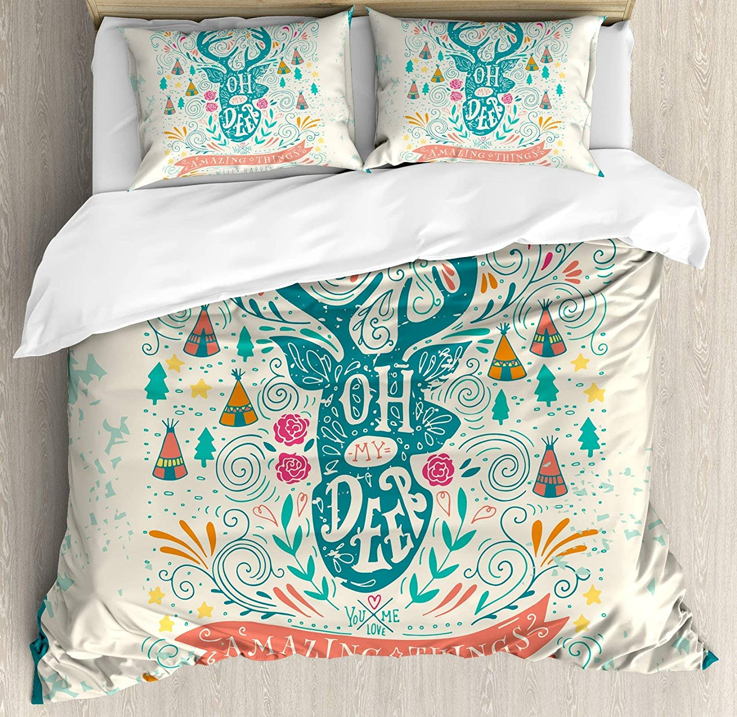 Multi 1 Queen BULING Modern 4pc Bedding Set Twin Size, Surf Typography in Rainbow colors Featured with Palm Tree Silhouette Illustration Floral Lightweight Microfiber Duvet Cover Set, Multicolor