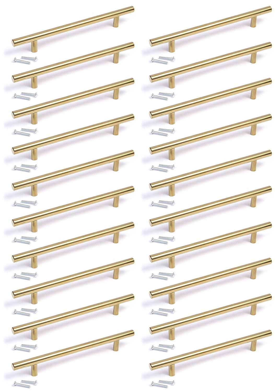 Tirador en forma de T para cocina 160mm hole centres acabado dorado dormitorio ba/ño