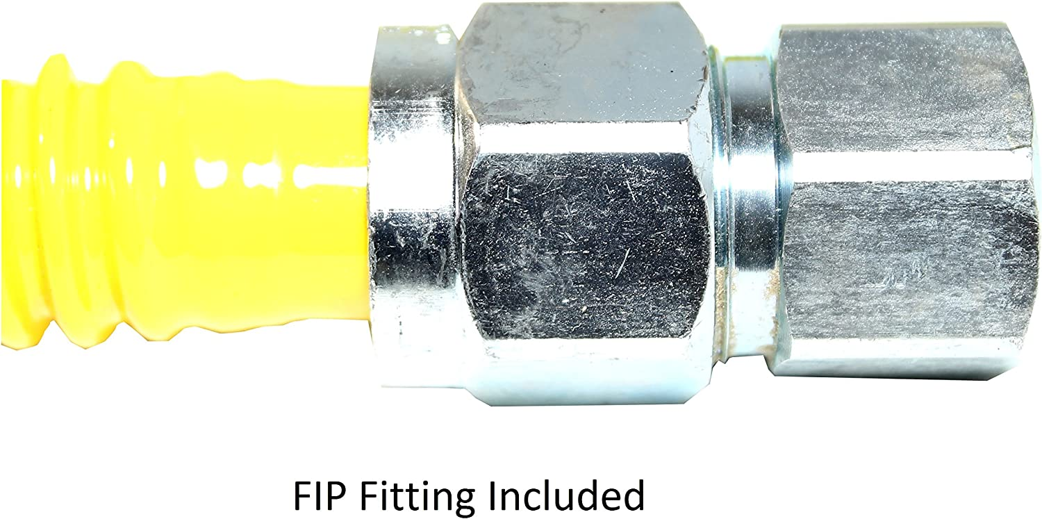 60 Gas Flex Connector Duratrac Yellow Coated Stainless Steel 3//4 MIP x 3//4 FIP Full Flow 1 OD