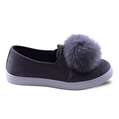 cff4a76068450 ... Pom Faux Fur Fluffy Slip On Flat Pump Trainer Sneaker Plimsoll School  Office Casual Fashion Everyday Unique Quirky Comfortable Shoes Size 3 4 5 6  7 8