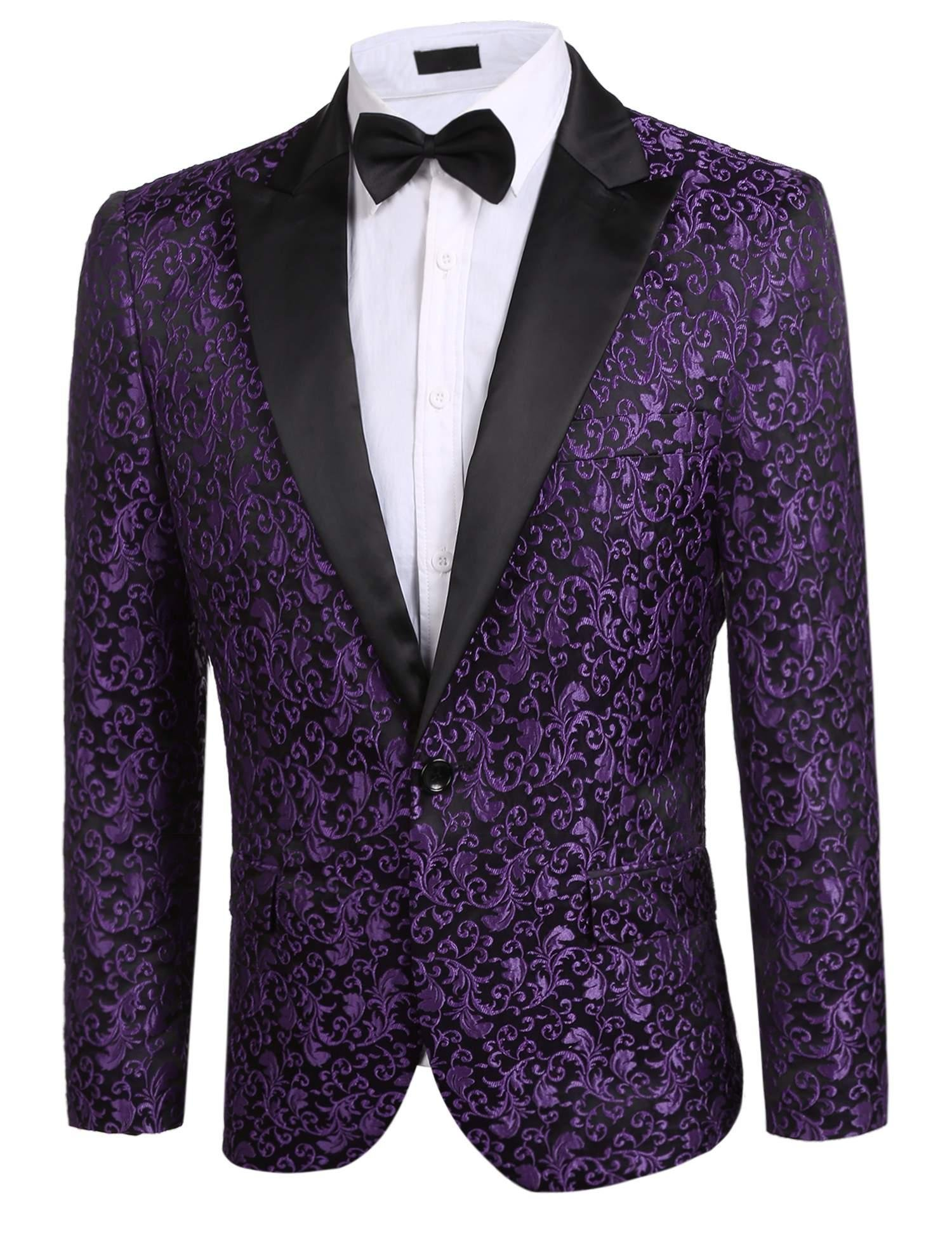 Donet Men's Floral Party Dress Suit Notched Lapel Stylish Dinner Jacket Wedding Blazer Prom Tuxedo Purple X-Large
