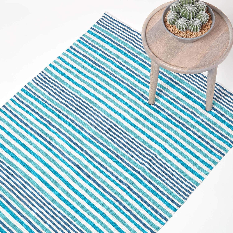 HOMESCAPES Small Modern Striped Cotton Rug Blue S Contemporary Scandinavian Living Room /& Bedroom Mats 60 cm x 100 cm