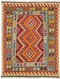 "Ecarpetgallery Hand-woven Hereke Kilim Geometric 4'10"" x 6'4"" Red 100% Wool area rug"