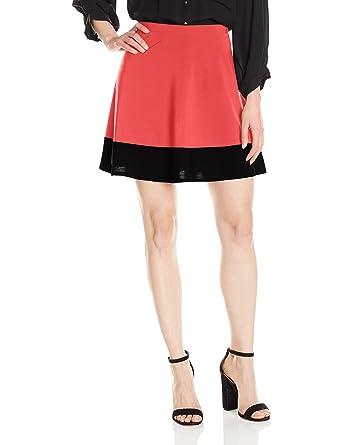 7c28f5b93 Star Vixen Women's Plus Size Stretch Ity Colorblock Hem Swingy Full Skater  Skirt, Coral/