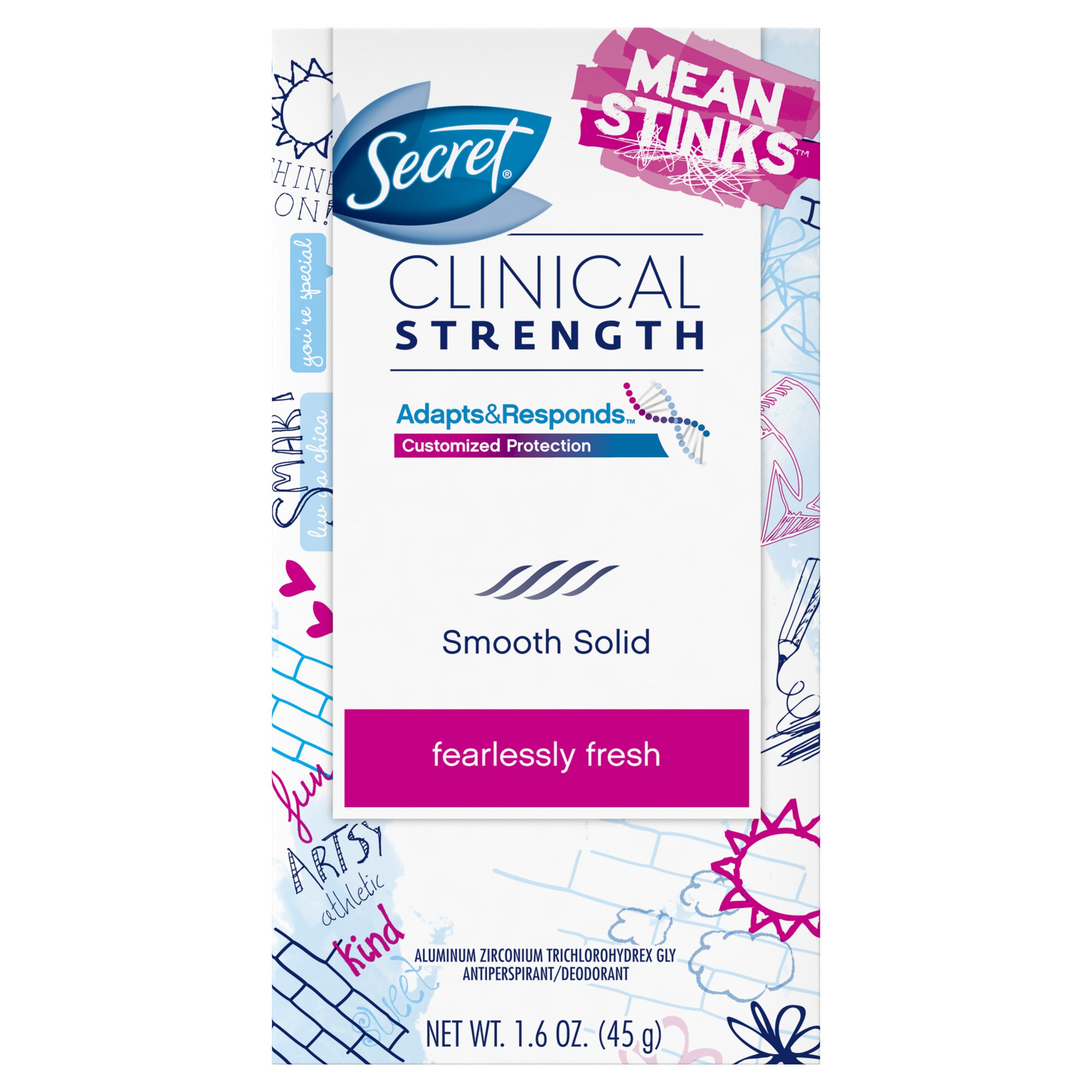 Secret Clinical Strength Mean Stinks Fearlessly Fresh Scent Advanced Solid Antiperspirant & Deodorant, 1.6 Oz