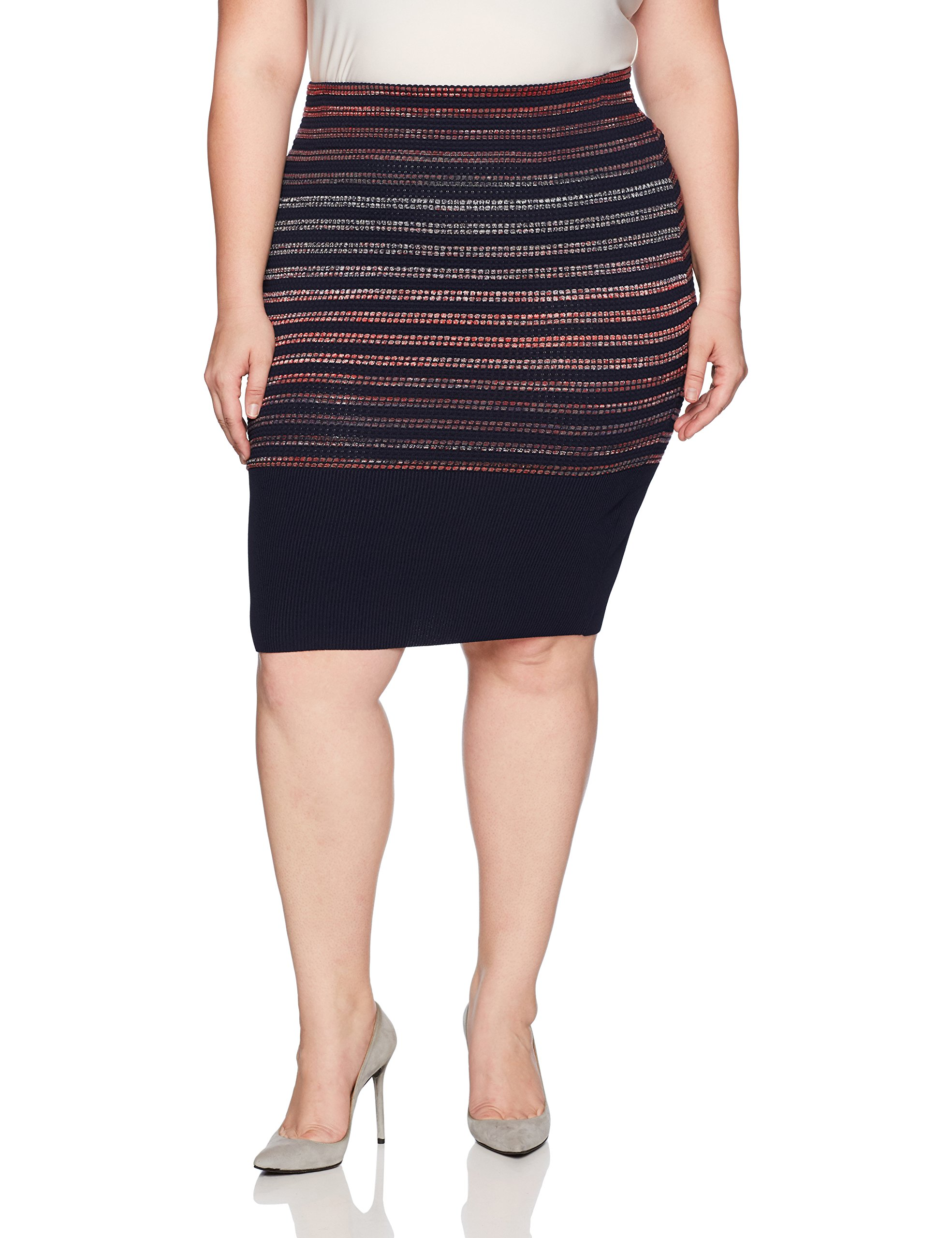 RACHEL Rachel Roy Women's Plus Size Spac Dyed Stripe Skirt, Navy/Port Combo, 3X