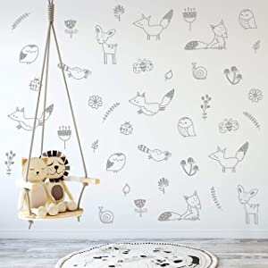 Wall Vinyl Grey Woodland Decal 40 pcs. Nursery Decor, Original Artist Design. Adhesive Forest Stickers for Kids. Baby Nordic Fox, Deer, Owl, Birds, Bee, Raccoon, Flowers Bedroom Decoration. (Grey)