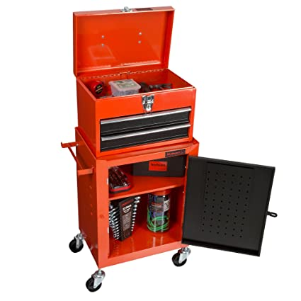 Superieur Tool Chest With Rolling Cabinet 2 Pieces Wheels Red Box Garage Toolbox  Stalwart