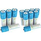12 Baseline Battery AA NI-MH Rechargeable Batteries 600mAh NIMH for Solar Path Garden Lights, Appliances, Remotes