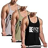 GymRevolution Men's Gym Workout Bodybuilding Printed Muscle Stringer Extreme Y Back Fitness Tank Tops