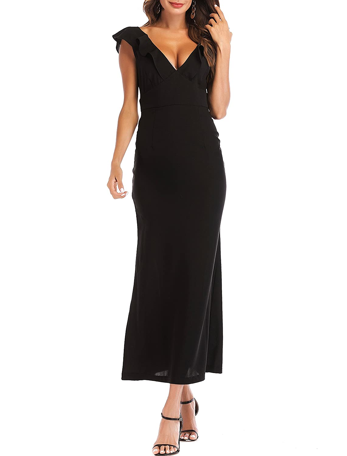Black SUNNOW Women's Summer Solid VNeck Sexy Ruffle V Back Cocktail Club Evening Party Long Maxi Dress