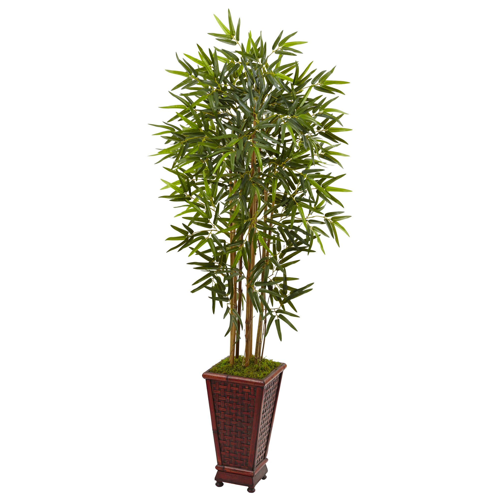 Nearly Natural 5' Bamboo Artificial Tree in Decorative Planter, Green