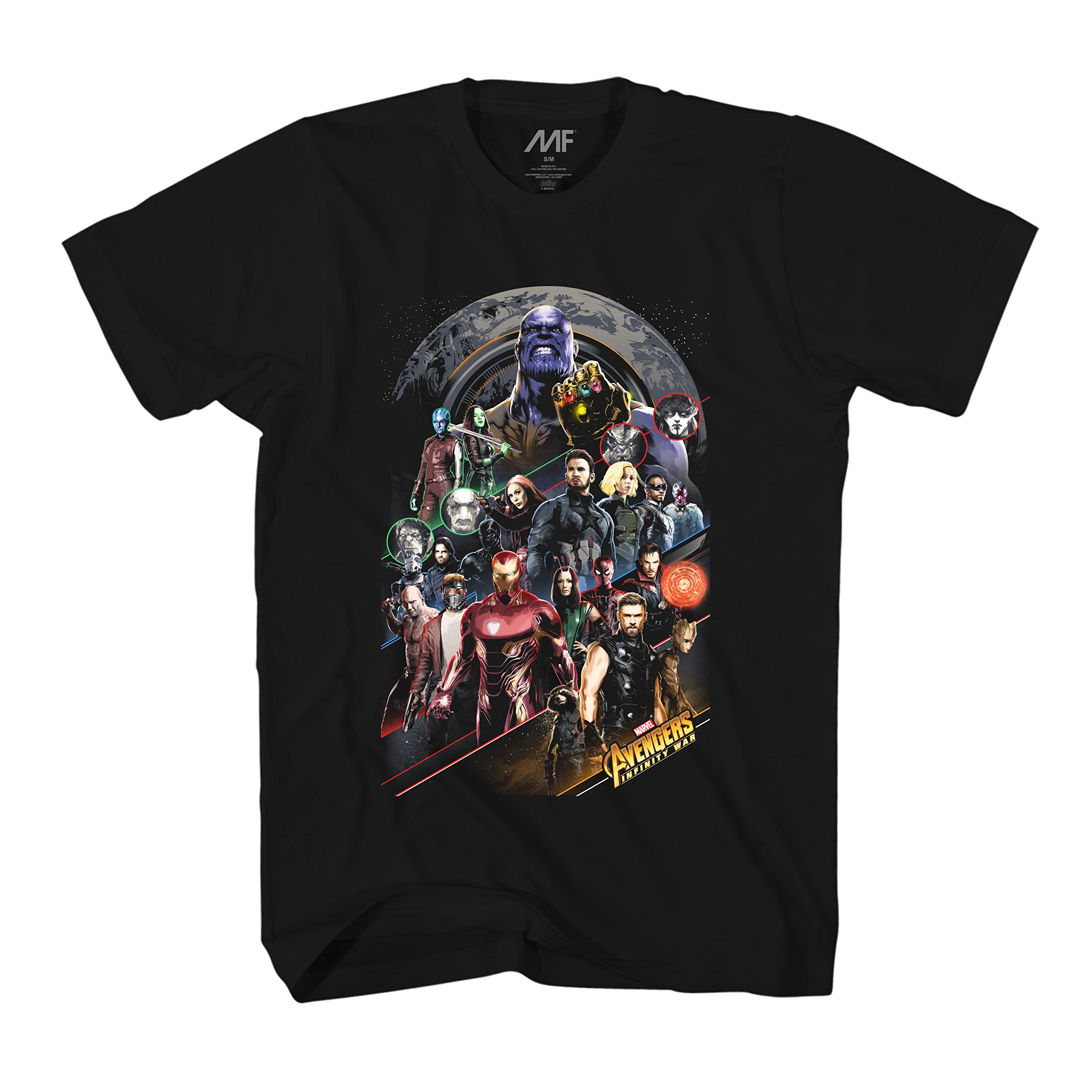 Marvel Avengers Infinity War Thanos Gauntlet Group Over Earth S Tshirt