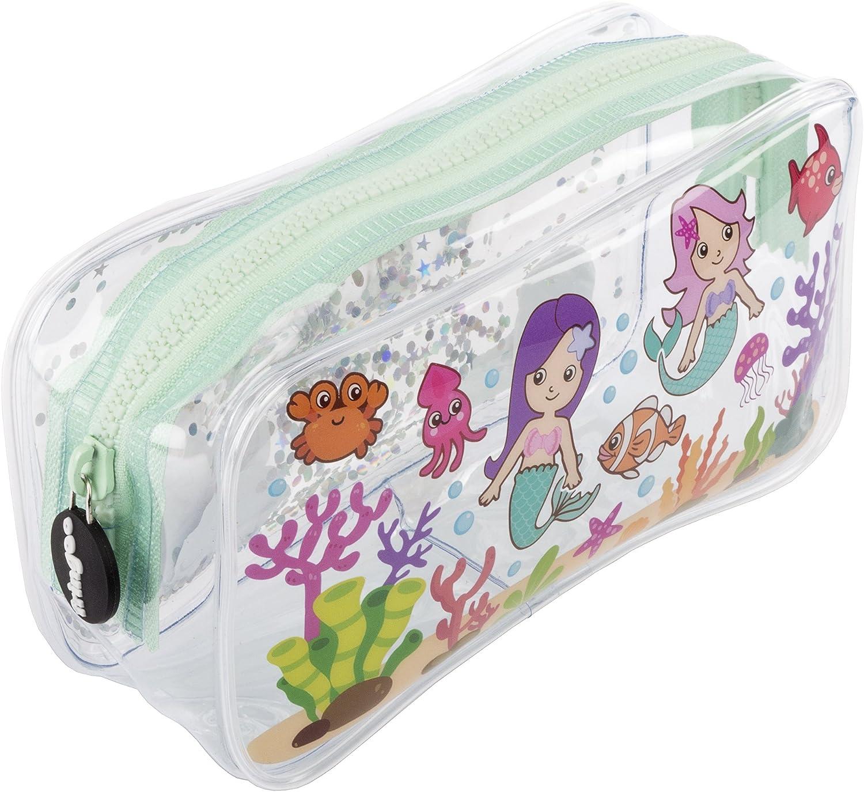Estuche escolar Fringoo®, diseño líquido y transparente, color Mermaids World Large: Amazon.es: Oficina y papelería