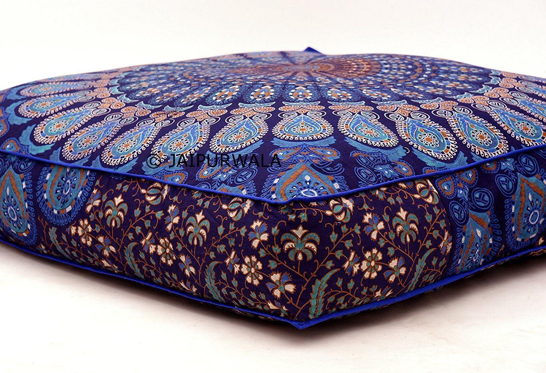 Blue Mandala Multicoloured Square Shape 35 Inches Cushion Covers Floor Decor Pet Sitting Ottoman puff