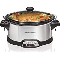 Hamilton Beach Stay or Go Portable 6-Quart Programmable Slow Cooker with Lid Lock, dishwasher-Safe Crock (33466)