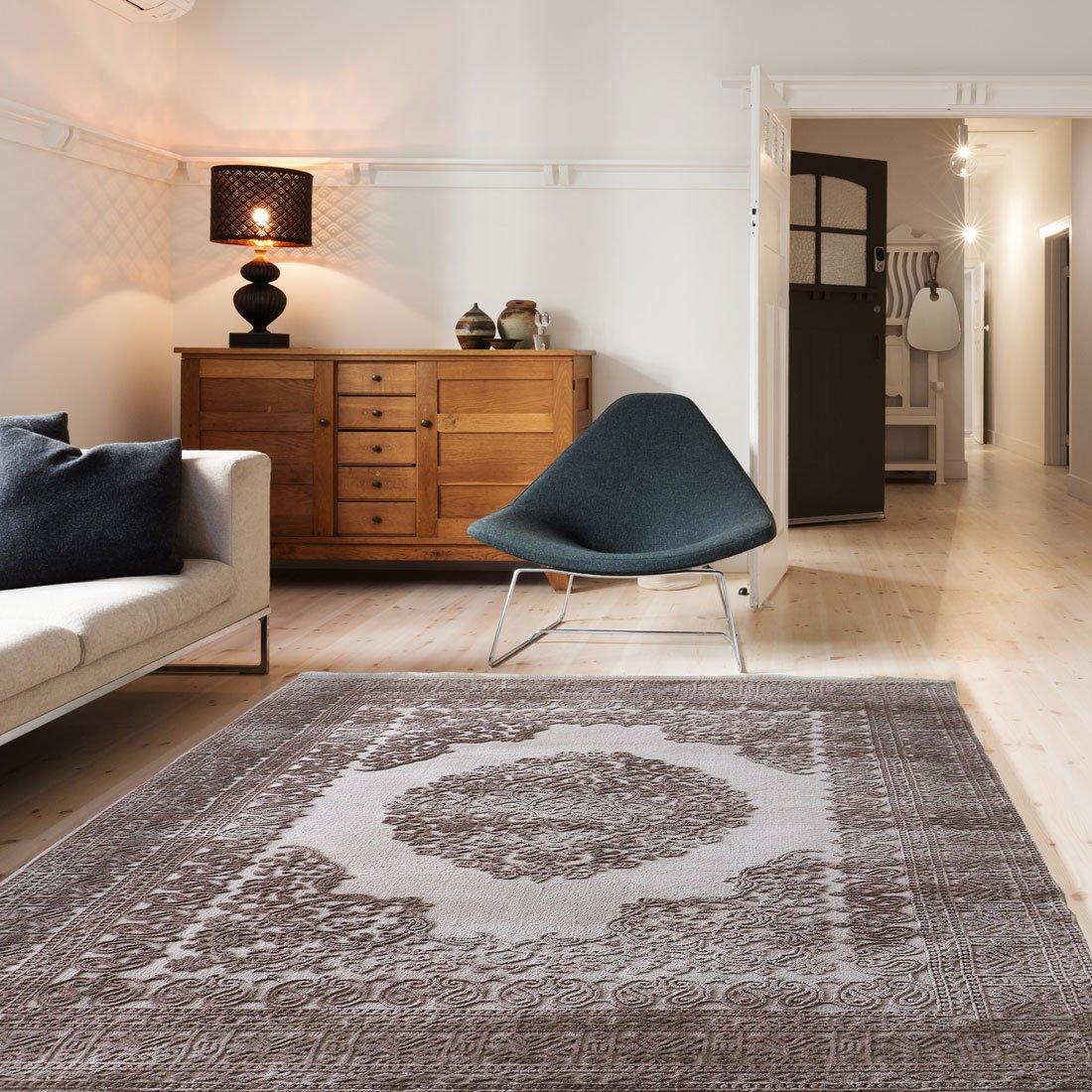 Mynes Home Teppich Vintage Design in Beige für Wohnzimmer Qualitativ mit Medaillon Muster dicht gewebt Kurzflor mit Hoch Tief Struktur (200 x 290 cm)