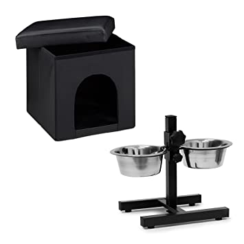 Set de 2 artículos para mascotas, Comedero doble L, Altura ajustable, Perros-gatos, Taburete con casa para perros, Negro: Amazon.es: Productos para mascotas