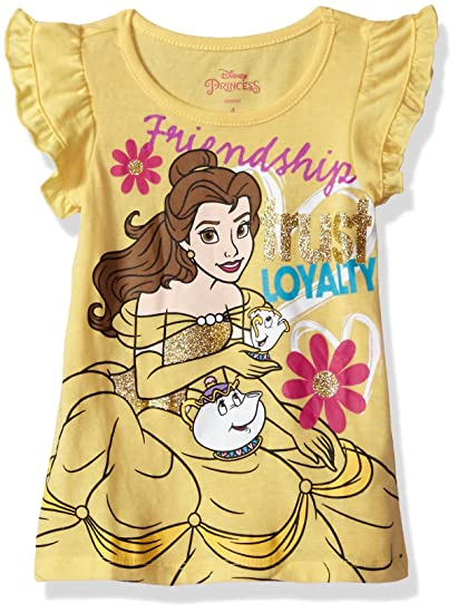 7a6c14a71 Amazon.com: Disney Girls' Toddler Belle Beauty and The Beast T-Shirt,  Yellow 2t: Clothing