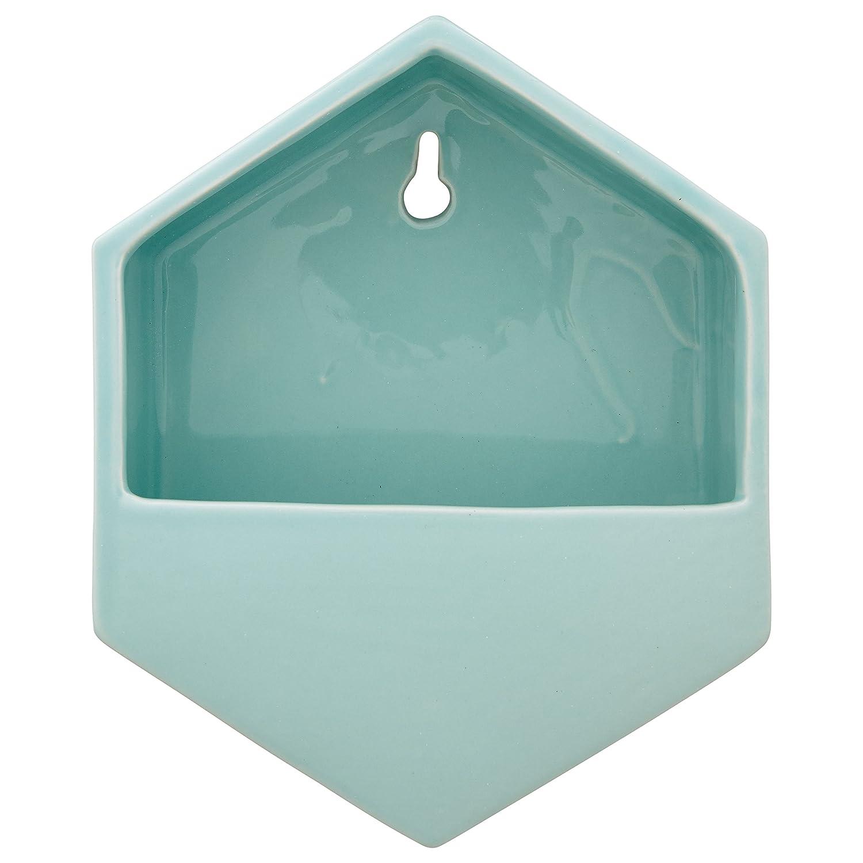 "Rivet Hexagonal Wall Mount Planter, 7.7""H, Modern Earthenware, Aqua"
