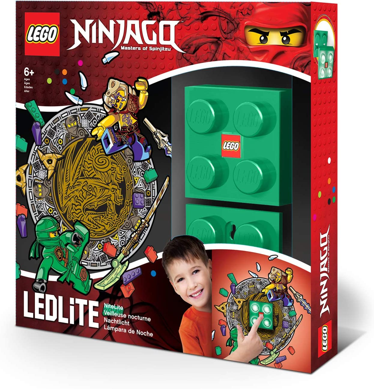 IQ Lego Ninjago Green Night Light - LED NiteLite with Lloyd Wall Decals