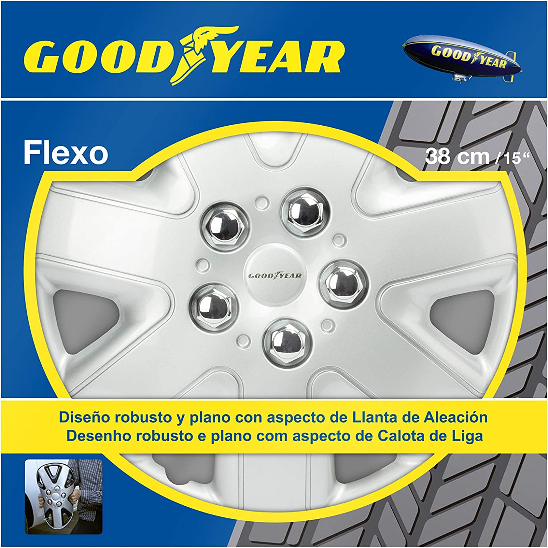 Good Year GOD9036 - Set de 4 Tapacubos Flexo 50, Plata, 15 Pulgadas