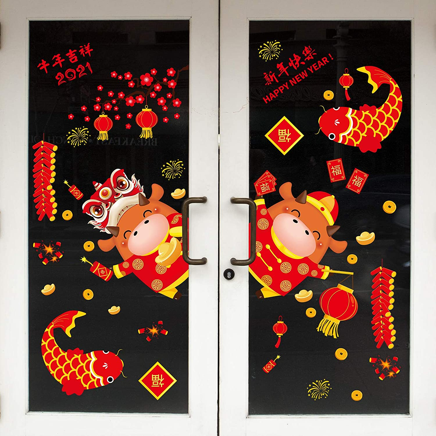 50 Pieces Chinese New Year Window Clings, 2021 Spring Festival Decorations Window Sticker, Ox Year Window Decals Self-Adhesive Removable Wall Sticker for Office Home Restaurant Store Party Supplies
