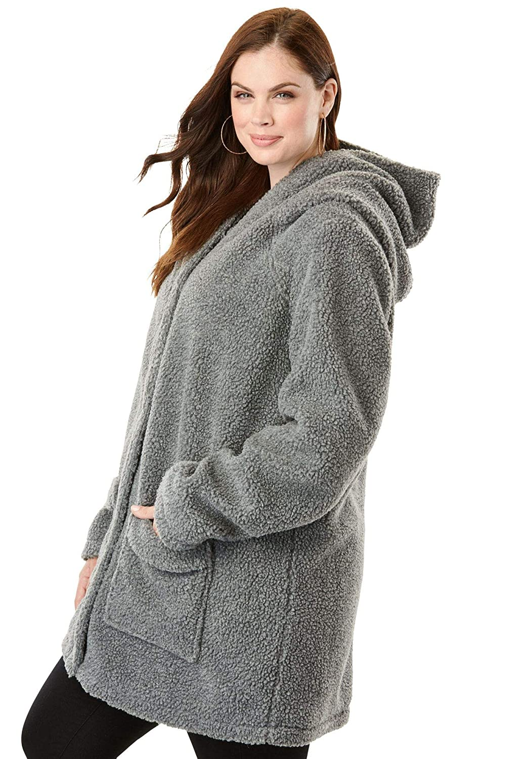 2687e7c070 Roamans Women s Plus Size Hooded Textured Fleece Coat at Amazon Women s  Coats Shop